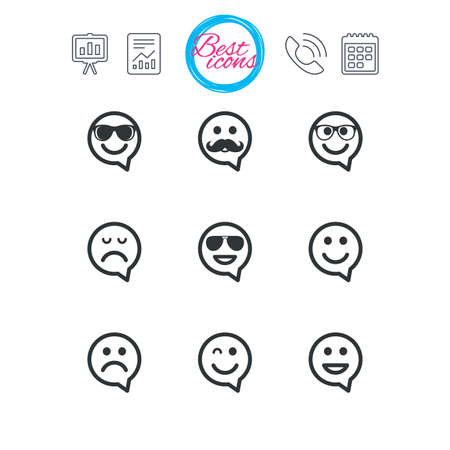 Presentation, report and calendar signs. Smile speech bubbles icons. Happy, sad and wink faces signs. Sunglasses, mustache and laughing lol smiley symbols. Classic simple flat web icons. Vector 向量圖像