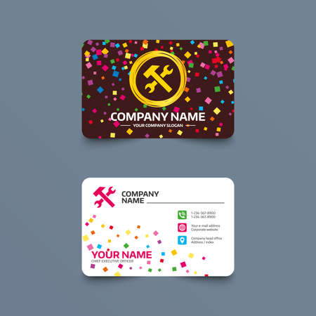 Business card template with confetti pieces. Repair tool sign icon. Service symbol. Hammer with wrench. Phone, web and location icons. Visiting card  Vector