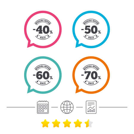 Sale discount icons. Special offer stamp price signs. 40, 50, 60 and 70 percent off reduction symbols. Calendar, internet globe and report linear icons. Star vote ranking. Vector Çizim