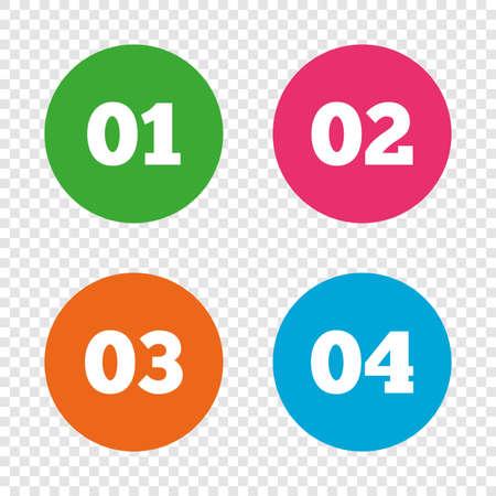 1 つ、2 つ、3 つ、4 つのアイコンをステップ実行します。オプション記号のシーケンス。読み込みプロセスの兆候。透明の背景上の丸いボタン。ベク
