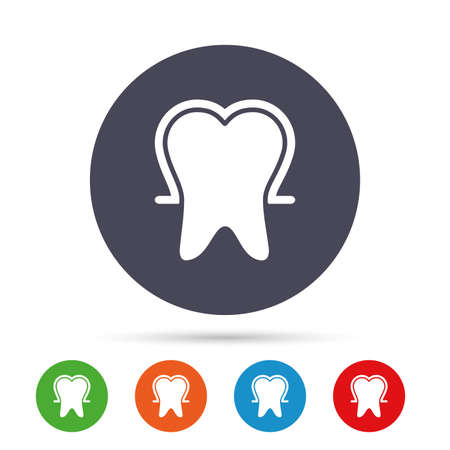 website buttons: Tooth enamel protection sign icon. Dental toothpaste care symbol. Healthy teeth. Round colourful buttons with flat icons. Vector