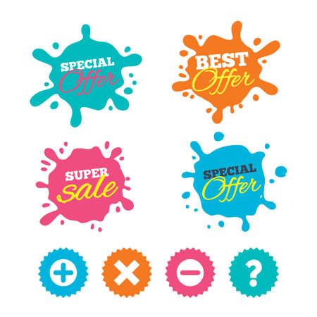 Best offer and sale splash banners. Plus and minus icons. Delete and question FAQ mark signs. Enlarge zoom symbol. Web shopping labels. Vector