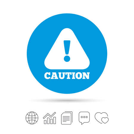 website buttons: Attention caution sign icon. Exclamation mark. Hazard warning symbol. Copy files, chat speech bubble and chart web icons. Vector