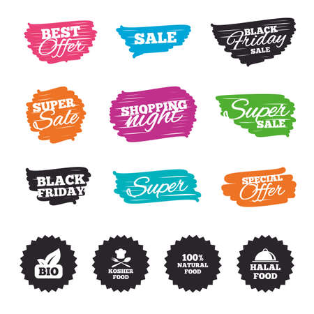 Ink brush sale banners and stripes. 100% Natural Bio food icons. Halal and Kosher signs. Chief hat with fork and spoon symbol. Special offer. Ink stroke. Vector