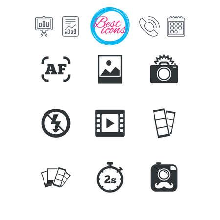 Präsentations-, Berichts- und Kalenderschilder. Foto, Video-Icons. Kamera, Fotos und Rahmenzeichen. Kein Blitz, Timer und keine Symbole. Klassische einfache flache Web-Icons. Vektor Standard-Bild - 76312189
