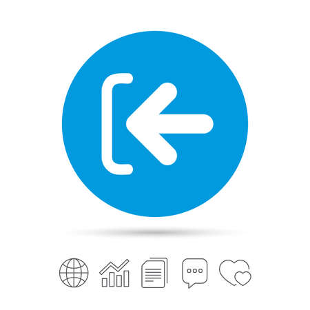Login sign icon. Sign in symbol. Arrow. Copy files, chat speech bubble and chart web icons. Vector Иллюстрация