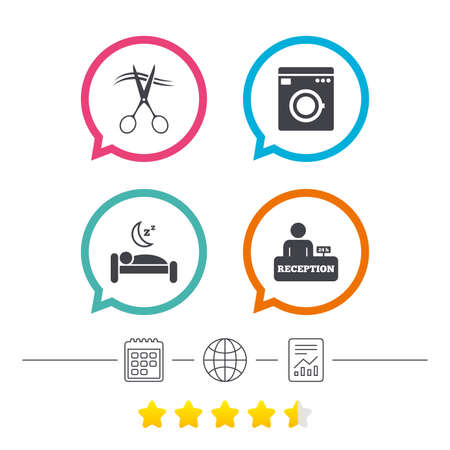 calendar icon: Hotel services icons. Washing machine or laundry sign. Hairdresser or barbershop symbol. Reception registration table. Quiet sleep. Calendar, internet globe and report linear icons. Star vote ranking