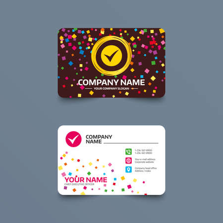 website buttons: Business card template with confetti pieces. Check sign icon. Yes symbol. Confirm. Phone, web and location icons. Visiting card  Vector