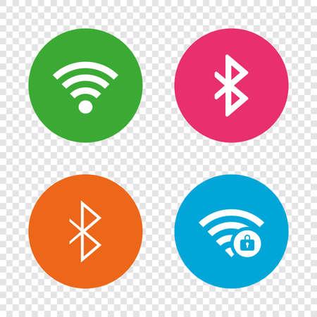 와이파이 및 블루투스 아이콘. 무선 모바일 네트워크 기호. 암호로 보호 된 Wi-fi 구역. 데이터 전송 기호입니다. 투명 한 배경에서 라운드 단추입니다.