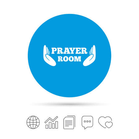 Prayer room sign icon. Religion priest faith symbol. Pray with hands. Copy files, chat speech bubble and chart web icons. Vector Фото со стока - 77843229