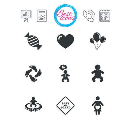 プレゼンテーション、報告書、カレンダーのサイン。妊娠・出産・赤ちゃんのケア アイコン。キャンディ、ベビーカー、シートベルトのサインを固  イラスト・ベクター素材