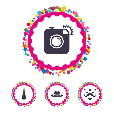 Web buttons with confetti pieces. Hipster photo camera. Mustache with beard icon. Glasses and tie symbols. Classic hat headdress sign. Bright stylish design. Vector