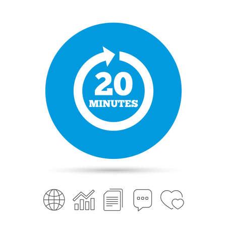 20 分ごとに署名アイコン。回転矢印記号です。ファイルのコピー、音声バブルとグラフ web アイコンをチャットします。ベクトル