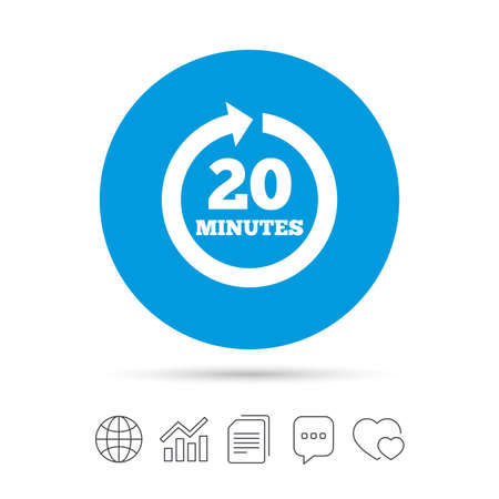 Every 20 minutes sign icon. Full rotation arrow symbol. Copy files, chat speech bubble and chart web icons. Vector Illustration