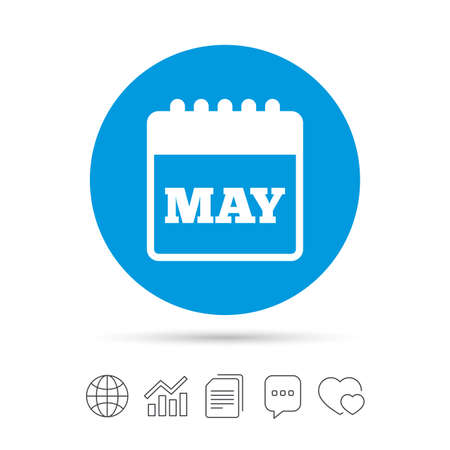 event planning: Calendar sign icon. May month symbol. Copy files, chat speech bubble and chart web icons. Vector