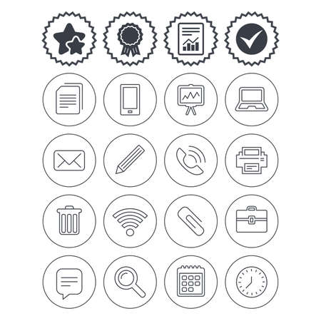 Report, check tick and award signs. Office equipment icons. Computer, printer and smartphone. Wi-fi, chat speech bubble and copy documents. Vector