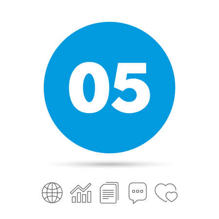 Fifth step sign. Loading process symbol. Step five. Copy files, chat speech bubble and chart web icons. Vector Illustration