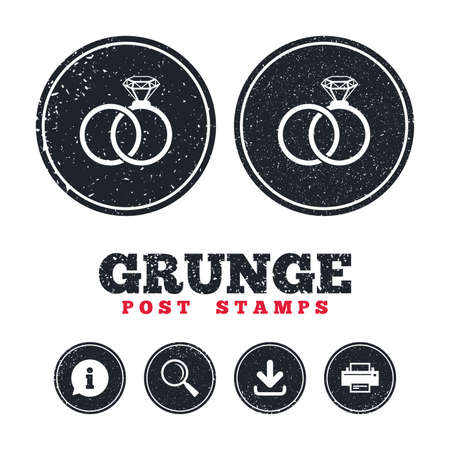 Grunge post stamps. Wedding rings sign icon. Engagement symbol. Information, download and printer signs. Aged texture web buttons. Vector