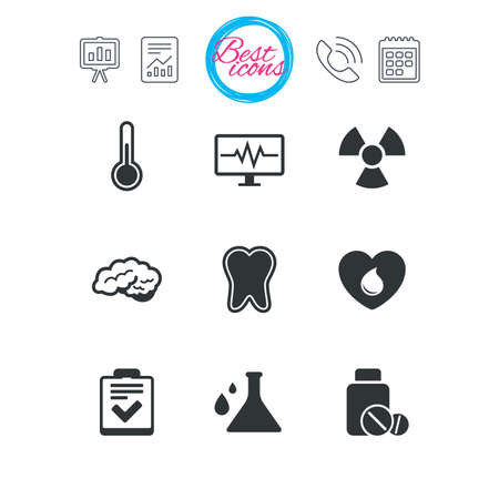 Presentation, report and calendar signs. Medicine, medical health and diagnosis icons. Blood donate, thermometer and pills signs. Tooth, neurology symbols. Classic simple flat web icons. Vector