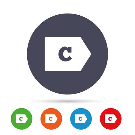 Energy efficiency class C sign icon. Energy consumption symbol. Round colourful buttons with flat icons. Vector 向量圖像