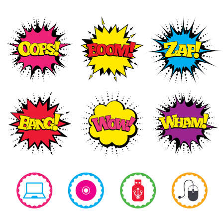 Comic Wow, Oops, Boom and Wham sound effects. Notebook pc and Usb flash drive stick icons. Computer mouse and CD or DVD sign symbols. Zap speech bubbles in pop art. Vector