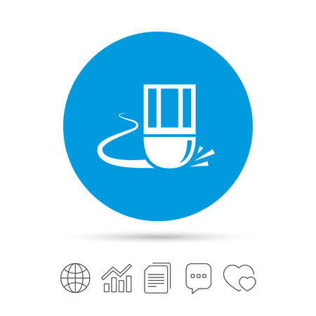 Eraser icon. Erase pencil line symbol. Correct or Edit drawing sign. Copy files, chat speech bubble and chart web icons. Vector Illustration