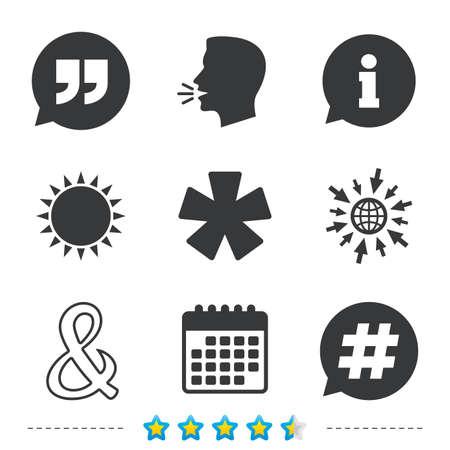 Citaat, asterisk voetnootpictogrammen. Hashtag sociale media en ampersand-symbolen. Logische operator EN teken programmeren. Spraak bubbel. Informatie, ga naar web- en kalenderpictogrammen. Zon en luid spreken symbool Stock Illustratie