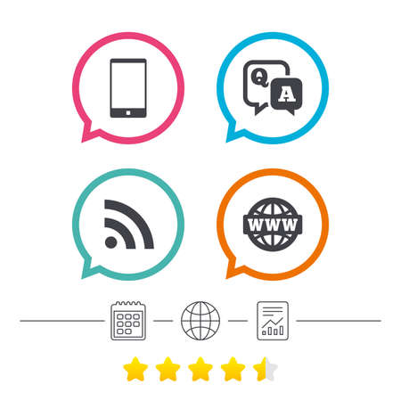 Question answer icon.  Smartphone and Q&A chat speech bubble symbols. RSS feed and internet globe signs. Communication Calendar, internet globe and report linear icons. Star vote ranking. Vector Illustration
