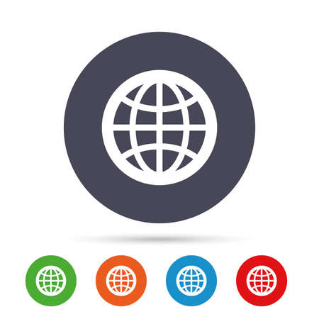 Globe sign icon. World symbol. Round colourful buttons with flat icons. Vector