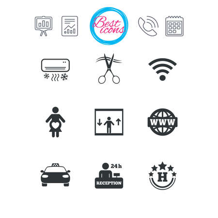 Presentation, report and calendar signs. Hotel, apartment service icons. Barbershop sign. Pregnant woman, wireless internet and air conditioning symbols. Classic simple flat web icons. Vector Ilustrace
