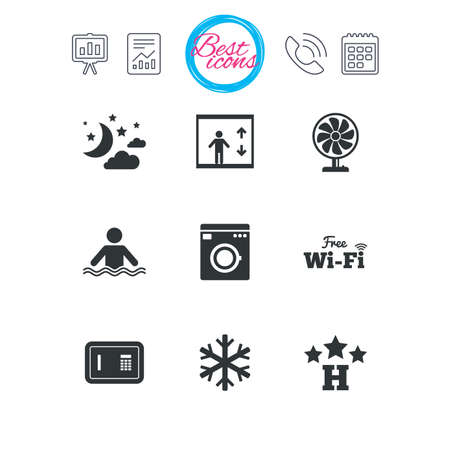 Presentation, report and calendar signs. Hotel, apartment service icons. Washing machine. Wifi, air conditioning and swimming pool symbols. Classic simple flat web icons. Vector Illustration