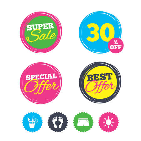Super sale and best offer stickers. Beach holidays icons. Cocktail, human footprints and swimming trunks signs. Summer sun symbol. Shopping labels. Vector Ilustração