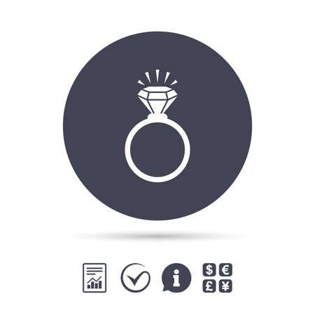 Ring sign icon. Jewelry with shine diamond symbol. Wedding or engagement day symbol. Report document, information and check tick icons. Currency exchange. Vector Illustration