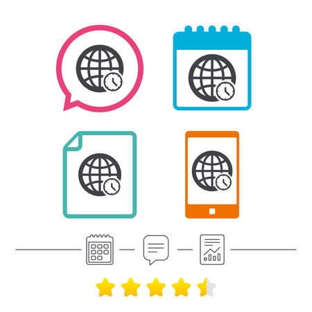 ut: World time sign icon. Universal time globe symbol. Calendar, chat speech bubble and report linear icons. Star vote ranking. Vector