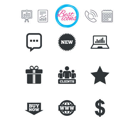 Presentation, report and calendar signs. Online shopping, e-commerce and business icons. Gift box, chat message and star signs. Chart, dollar and clients symbols. Classic simple flat web icons. Vector