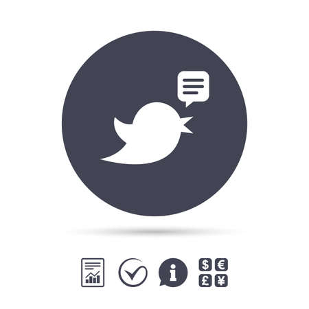 Bird icon. Social media sign. Speech bubble chat symbol. Report document, information and check tick icons. Currency exchange. Vector