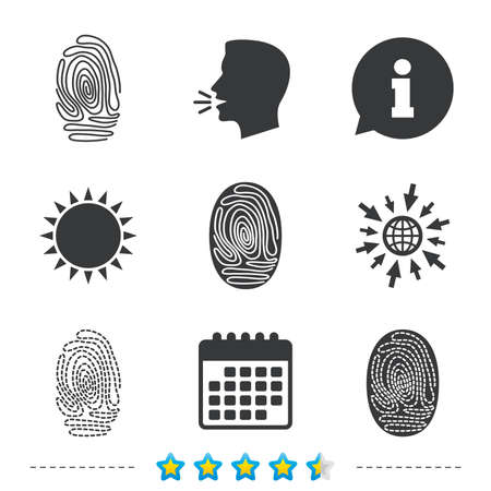 Fingerprint icons. Identification or authentication symbols. Biometric human dabs signs. Information, go to web and calendar icons. Sun and loud speak symbol. Vector Иллюстрация