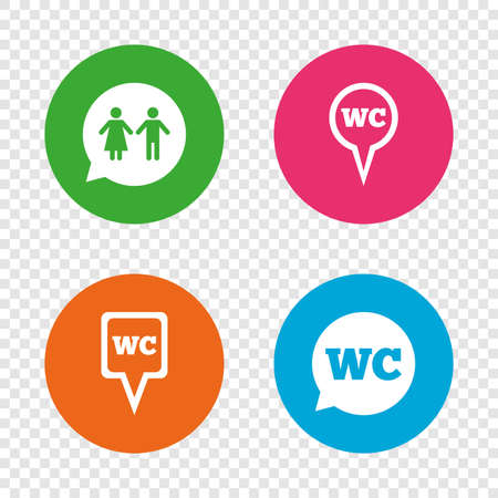 WC Toilet pointer icons. Gents and ladies room signs. Man and woman speech bubble symbols. Round buttons on transparent background. Vector Illustration