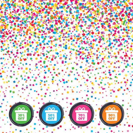 reductions: Web buttons on background of confetti. Sale gift box tag icons. Discount special offer symbols. 30%, 50%, 70% and 90% percent off signs. Bright stylish design. Vector