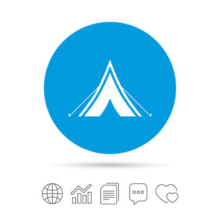 Tourist tent sign icon. Camping symbol. Copy files, chat speech bubble and chart web icons. Vector