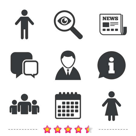 Businessman person icon. Group of people symbol. Man and Woman signs. Newspaper, information and calendar icons. Investigate magnifier, chat symbol. Vector Illustration