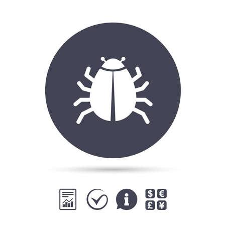 Icône de signe de bogue. Symbole du virus Erreur de bogue logiciel. Désinfection. Signaler le document, l'information et cocher les icônes. Échange de devises. Vecteur Banque d'images - 77843603