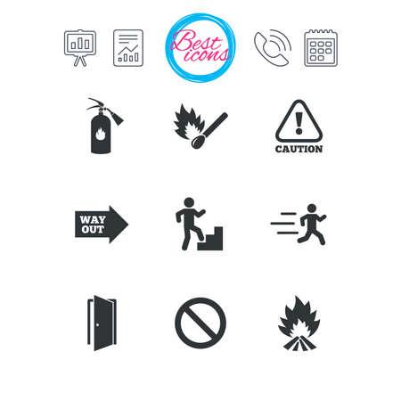 Presentatie-, rapport- en kalenderborden. Brandveiligheid, noodpictogrammen. Brandblusser, uitgang en attentieborden. Waarschuwing, waterdruppel en uitweg symbolen. Klassieke eenvoudige platte web iconen. Vector Stock Illustratie