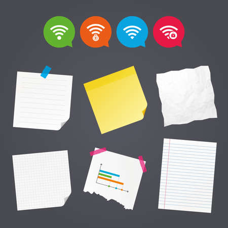 Business paper banners with notes. Wifi Wireless Network icons. Wi-fi zone locked symbols. Password protected Wi-fi sign. Sticky colorful tape. Speech bubbles with icons. Vector