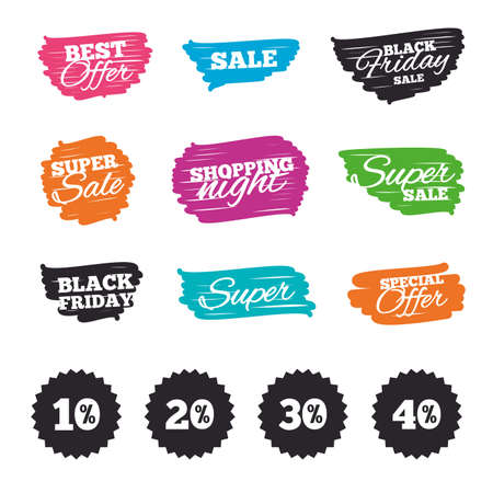 Ink brush sale banners and stripes. Sale discount icons. Special offer price signs. 10, 20, 30 and 40 percent off reduction symbols. Special offer. Ink stroke. Vector