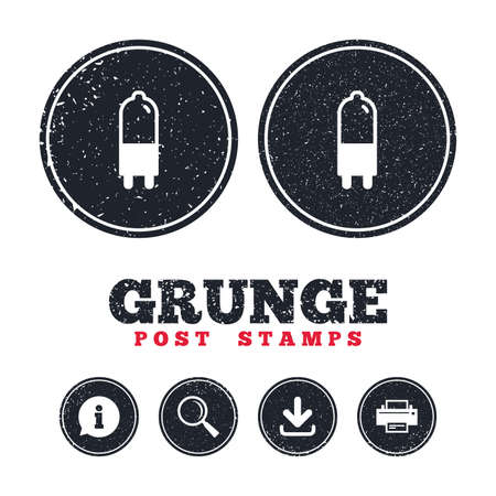 Grunge post stamps. Light bulb icon. Lamp G9 socket symbol. Led or halogen light sign. Information, download and printer signs. Aged texture web buttons. Vector
