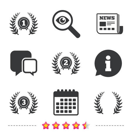 Laurel wreath award icons. Prize for winner signs. First, second and third place medals symbols. Newspaper, information and calendar icons. Investigate magnifier, chat symbol. Vector
