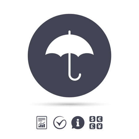 Umbrella sign icon. Rain protection symbol. Report document, information and check tick icons. Currency exchange. Vector Ilustração