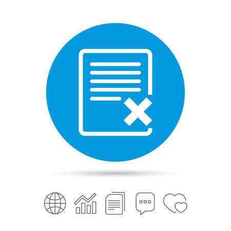 Delete file sign icon. Remove document symbol. Copy files, chat speech bubble and chart web icons. Vector Ilustração