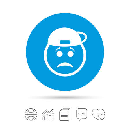 Sad rapper face sign icon. Sadness depression chat symbol. Copy files, chat speech bubble and chart web icons. Vector